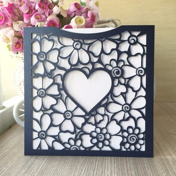 100pcs Laser Cut Pearl Paper Lace Heart Wedding Inviting Card Paper Party Event Decoration Pocket Design Wedding Invitation Card
