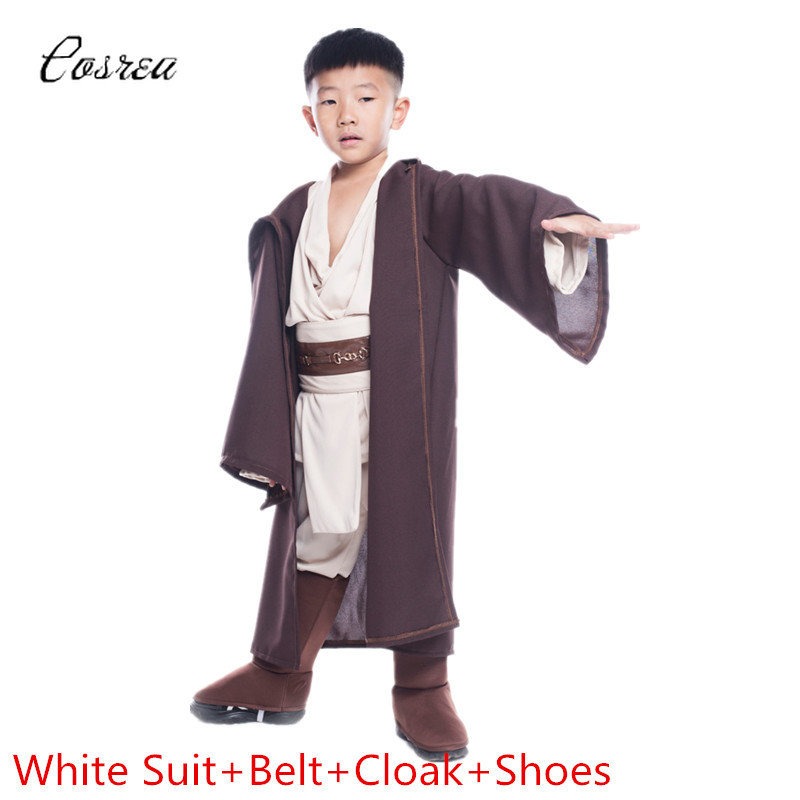 Movie Star Wars Costume Jedi Knight Anakin Clothes for Children Clothing Set Robe Hoodie Cloak Capes Manteau Kids Cosplay