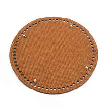 19*19cm Circle Bottom for Knitting Bag Bottoms with Holes Braided Leather for Handbag Shoulder Bag Handmade DIY Accessories Tan
