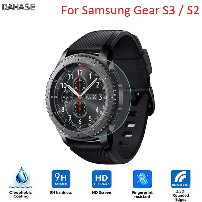 2Pcs/Lot 9H 2.5D Tempered Glass Watch Film For Samsung Gear S3/S2 Classic/Frontier Explosion proof Protective FilmWatch Screen Protectors   -