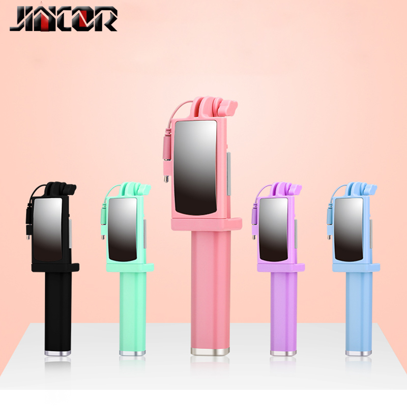 Portable Mirror Selfie Stick Mini Wired Control Android iOS Phone Universal Folding Telescopic Travel Camera JINCOR zealot s5 2000mah mini bluetooth speaker portable speaker powerful Basic Electrical Wiring Diagrams at honlapkeszites.co