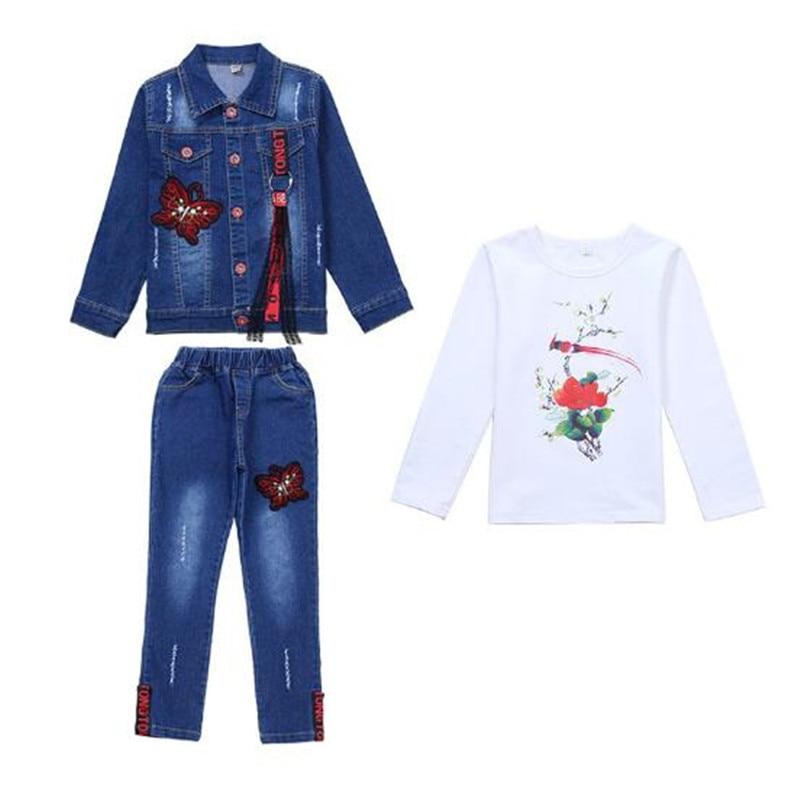 Nouveauté printemps bébé filles Denim Costume 4-15T infantile Costume 2019 enfants mode automne hiver vêtements pour filles 3 pièces ensembles