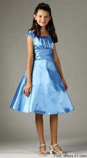 A line tea length Satin Pleated party dress flower girl dresses ...