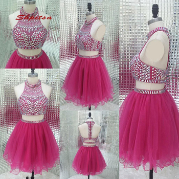 Luxury Short Homecoming Dresses Two 2 Piece Mini Women Plus Size 8th Grade Prom Cocktail Semi Formal Graduation Dress
