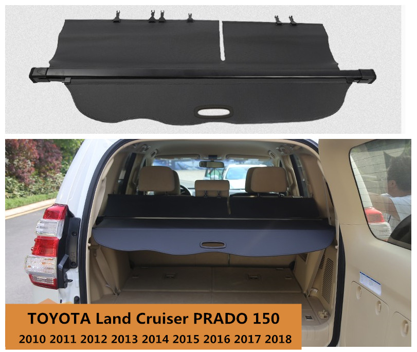 Rear Trunk Security Shield Cargo Cover For TOYOTA Land Cruiser PRADO 150 2010 11 12 13 14 15 16 17 2018 High Qualit Accessories trunk cargo cover security sheild for toyota land cruiser prado fj150 2010 2011 2012 2013 2014 2015