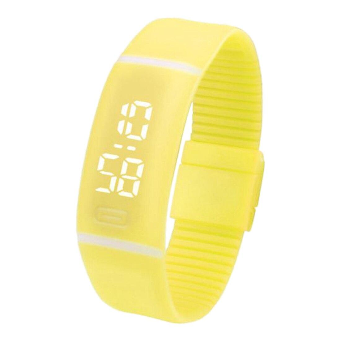 Fashion Man And Woman Silicone LED Digital Date Sports Wrist Watch Yellow