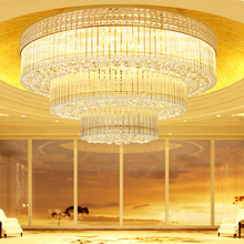 American Crystal Ceiling Lights Fixture LED Gold Lamps Round Living Room Home Indoor Lighting 3 White Colors Dimmable