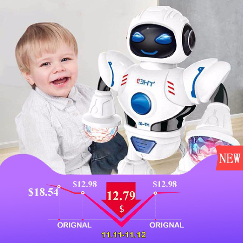 цены на Children interactive electric dancing robot toy music lighting singing machine dog child toy holiday gift