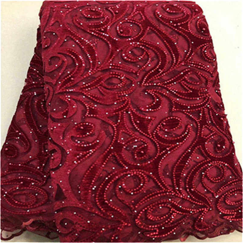 Design African Sequins Net Lace Fabric velvet beads High Quality red Nigeria Indian Embroidery Guipure Mesh Gold Sequined Lace