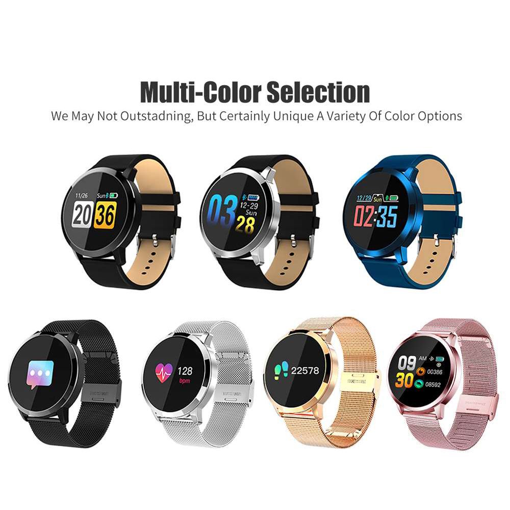 GIVENONE New Q8 Smart Watch Men Women Heart Rate Blood Pressure Monitor OLED Screen Bluetooth Sports Pedometer Wearable Devices
