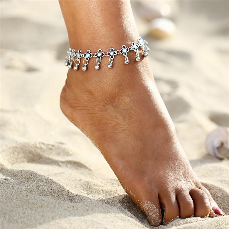 HTB1bcCQSpXXXXXfapXXq6xXFXXXd Sterling Silver Anklets - Stylish Women Silver Floral Anklet Foot Chain Jewelry With Charms