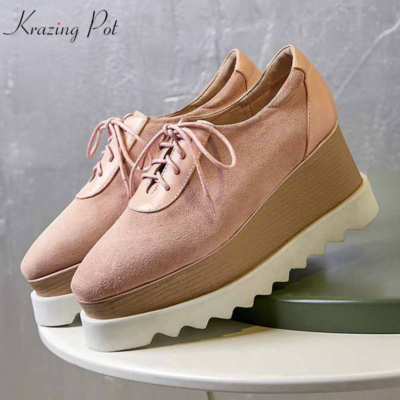 Krazing Pot sheep suede waterproof platform high fashion wedges high heel pumps high qulity lace up