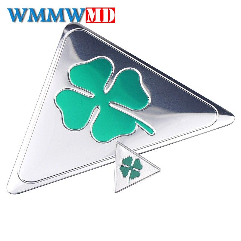 3D Aluminum Sticker 1Pcs For Alfa Romeo Quatrefoil Green Delta For Alfa 147 156 166 159 GT Car Side Splash Guard Emblem Badge