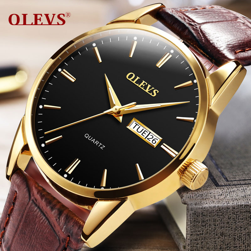Top Luxury Brand OLEVS Men Sports Watches Men's Quartz Date Clock Man Swiming Leather Business Wrist Watch erkek kol saati 2017 xinge top brand luxury leather strap military watches male sport clock business 2017 quartz men fashion wrist watches xg1080