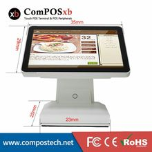 China Factory Directly 15″ All In the PC Touch Screen Retail POS System Point Of Sale Cash Register With VFD Customer Display