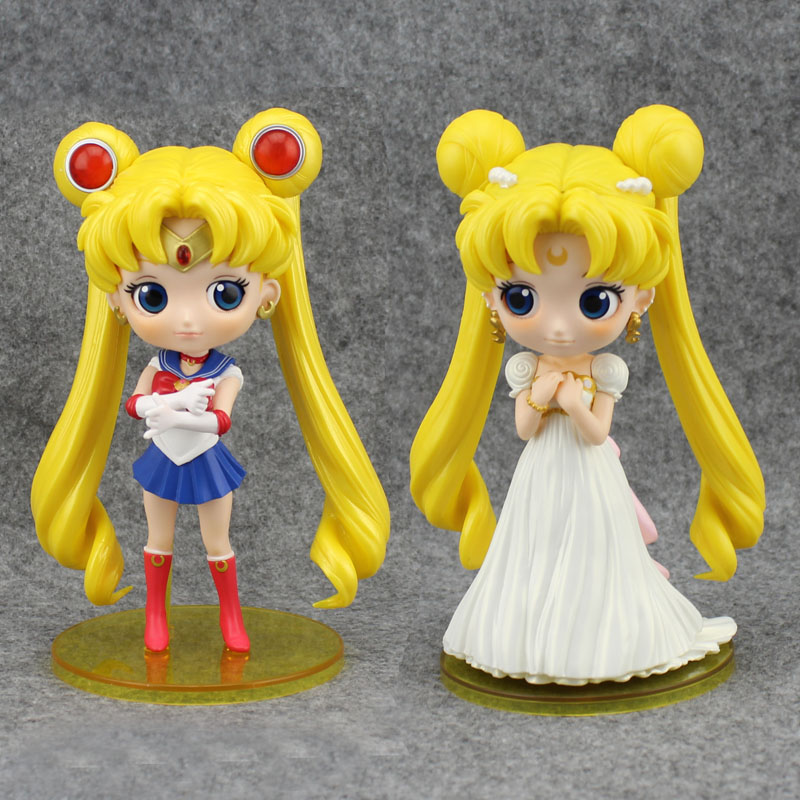 Cute 5 Pretty Guardian Sailor Moon Anime Tsukino Usagi Big Eyes Qposket Ver. Boxed 13cm PVC Action Figure Model Doll Toys Gift