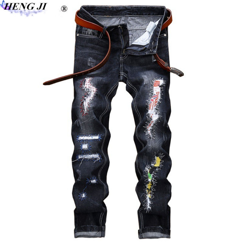 Male straight tube ripped jeans, old, worn, slim, waist, street personality, embroidered cloth jeans, high quality,free shipping