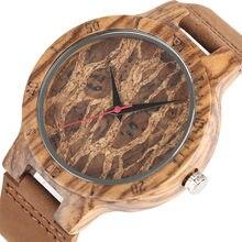 3b2ce9b6aced Especial Burl Dial de madera de diseño relojes de los hombres de cuero  genuino de las mujeres de bambú Natural