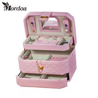 Portable Pink Leather Jewelry Storage Box Fashion Jewelry Display Organizer Earrings Necklace Packing Box Jewellery Holder