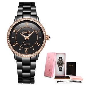 Image 5 - SunKta Luxus Rose Gold Schwarz Keramik Wasserdichte Uhren Frau Klassische Serie Damen Uhr Top Qualität Damen Strass Uhr