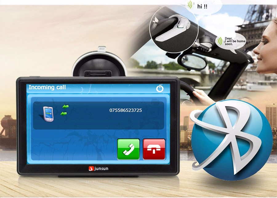 "7"" HD FM Bluetooth Car GPS Navigator - D100 11"