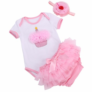 1st Birthday 3D Cake Baby Clothes Baby Girl Bodysuit+Short+Headband 3PCS Set;Princess Fashion Cotton Girl Baby Clothing Set 0-2Y