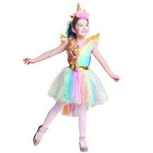 Chicas unicornio vestido de traje Arco Iris Tutu princesa Cosplay vestido de fiesta de cumpleaños de los niños Carnaval de Halloween ropa,