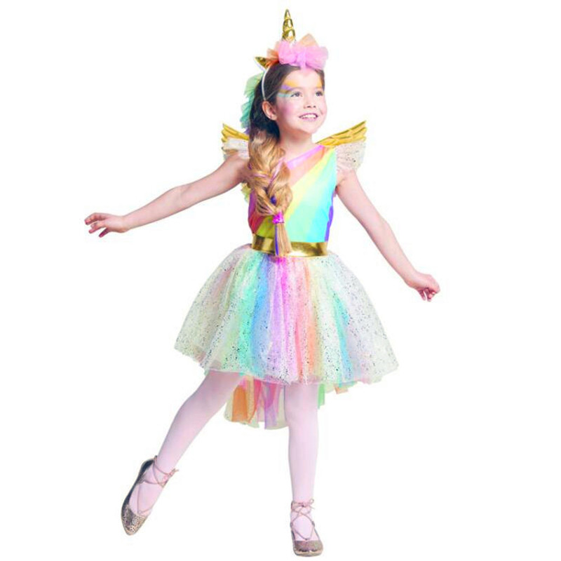 Girls Unicorn Dress Costume Rainbow Tutu Princess Cosplay Birthday Party Dress Children Kids Halloween Carnival Unicorn Clothes