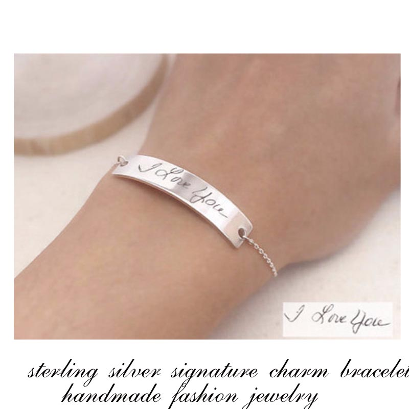 5c7a7f221d66 Firma grabada plata encanto pulsera personalizada manuscrita en la etiqueta brazalete  personalizado joyería de regalo de moda