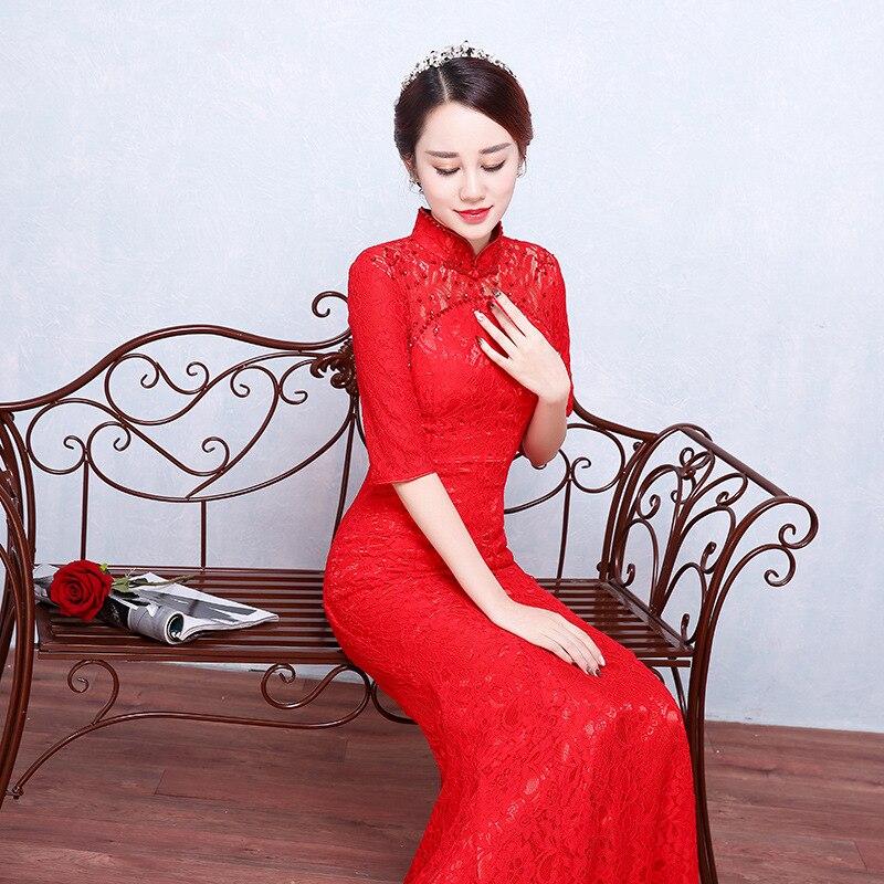 Trois De Col L Manches Queue Sexy Chinois Dame Cheongsam Qipao Mandarin Élégante Xxl Dentelle A S 115 Trimestre Robe Rouge M Xl Poisson 0PZ8OnkXwN