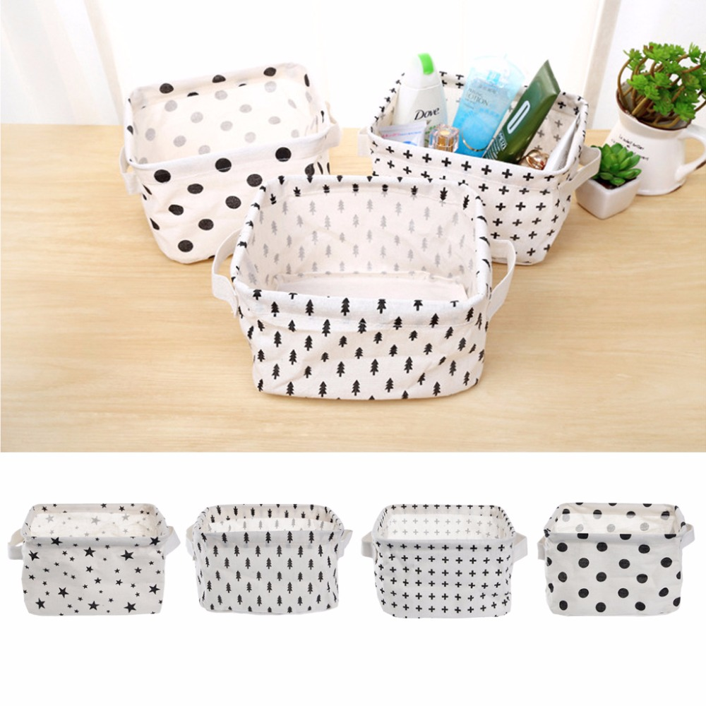 Brief Linen Desk Storage Basket Holder Jewelry Stationery Office Organizer Case Home Storage Organization