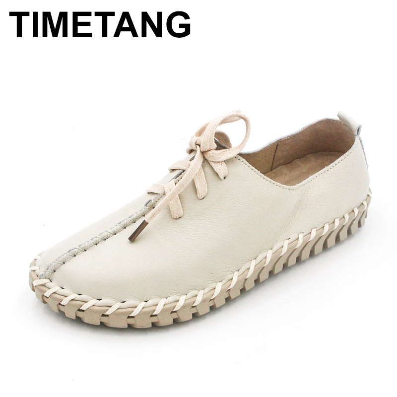 TIMETANG Genuine Leather Loafers Casual Platform Shoes Woman Slip On Flats Bowtie Moccasin Comfortanble Creepers Women