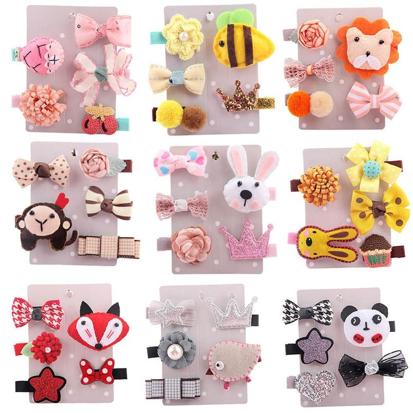 Headwear   Baby girl hairclips 5Pcs Kids Infant Hairpin Baby Girl Cartoon animal motifs Hair Clip Set Bebes acessorios #4A29LH **