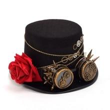 Fedora Unisex Women Men Steampunk Gears Floral Black Top Hat with Glasses Decora