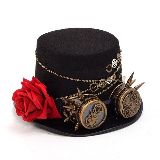 9051b9f27f1ba Chapéu Fedora Unisex Mulheres Homens Steampunk Engrenagens Floral Top Preto  com Vidros Decoração Headwear Do Vintage