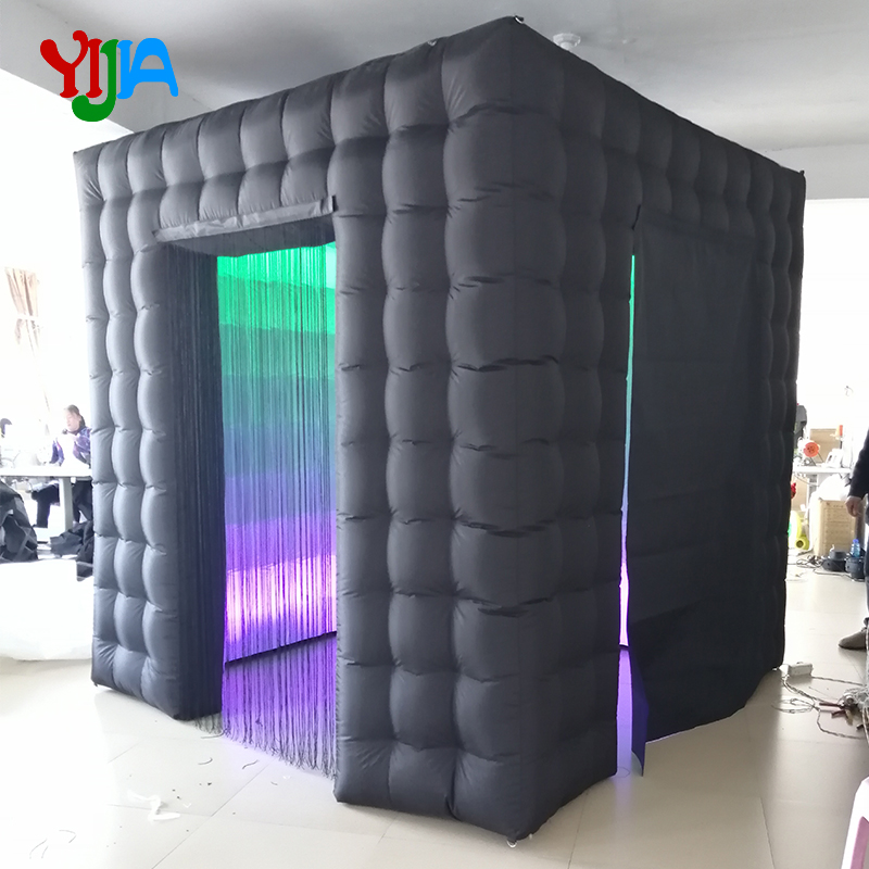 Brightly 2 5m Cube Inflatable Photo Booth Backdrop with 2PCS LED Strips Lights And Curtain Cover