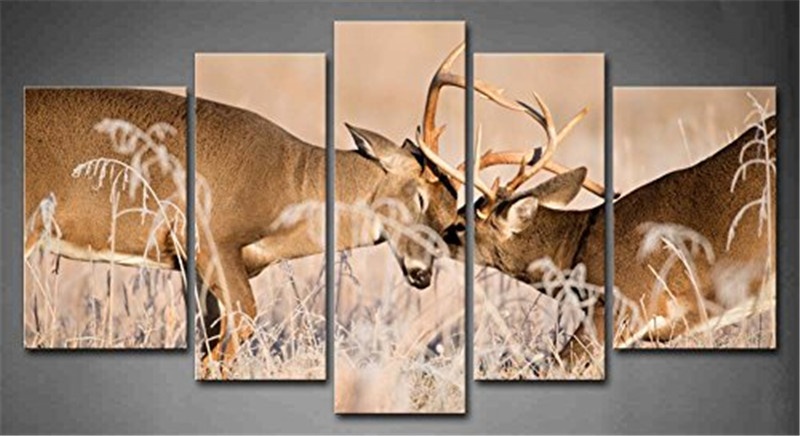 Two Elk On The Grass 5 Panels Wall Art Canvas Paintings Wall Decorations For Home Office Artwork Giclee Wall Artwork Home Decor