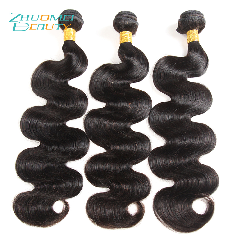 Zhuomei BEAUTY Mongolian Hair Body Wave 3 Bundles Human Hair Weave Bundles Natural Colour Remy Hair Extensions 8-28inch ...