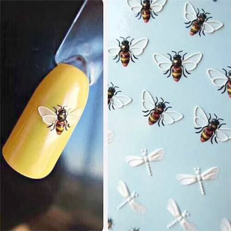 1pc 3D Acrylic Engraved Rose Bee Nail Sticker Nail Water Decals Empaistic Nail Slider Decals Embossed Transfer Sticker