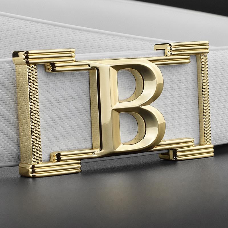 2018 new belt men High Quality ceinture homme white fashion genuine leather Waist Strap designer luxury B letter belt for male