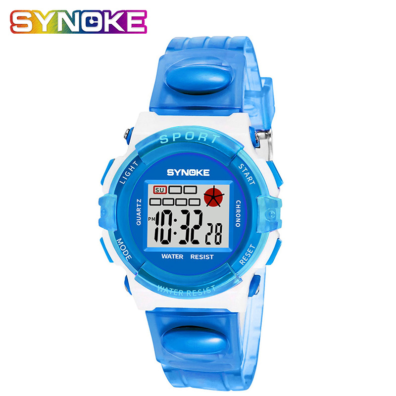 SYNOKE Waterproof Watch Kids Watches Children Movement Boy Digital LED Alarm Clock Date Sports Wristwatch Relogio Top Coupon