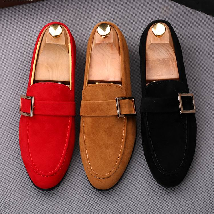 ERRFC Fashion Red Men Loafer Shoes Slip On Round Toe Faux Suede Casual Comfort Shoes Man