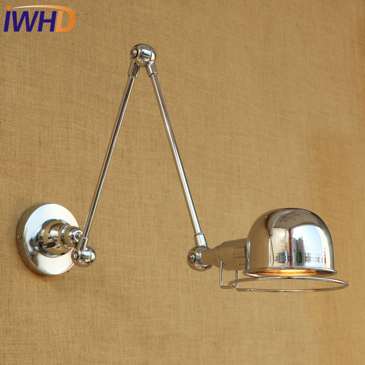 IWHD Loft Style Double Swing Arm LED Wall Sconce Iron Bedside Wall Lamp Industrial Vintage Wall Light Fixtures Home Lighting retractable wall sconce iron wall lamp loft vintage telescopic wall sconces extend arm wall light swing arm led light