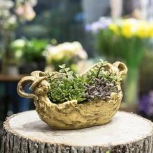 Artificial Driftwood Rabbit Bunny Planter Resin Flower Pot Sculpture Succulent Air Plants Multilayer RusticTrunk Stump