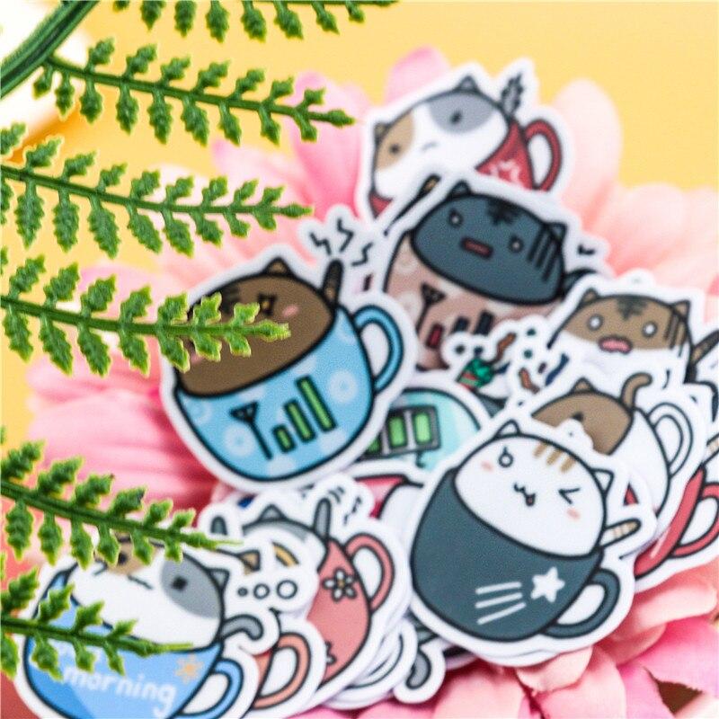 Купить с кэшбэком 40pcs/pack Creative kawaii self-madeBowl of cat stickers scrapbooking decorative stickers/DIY craft photo albums
