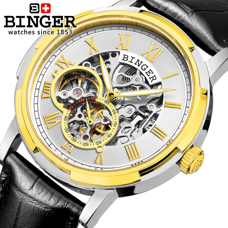 Switzerland men's watch luxury brand clock BINGER luminous Automatic self-wind watches full stainless steel Waterproof B5036-8 tevise fashion auto date automatic self wind watches stainless steel luxury gold black watch men mechanical t629a with tool