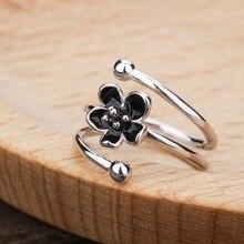New S925 Sterling Silver Drip Oil Black Rose Flower Adjustable Rings for Girl Gift Open Ring Women Jewelry