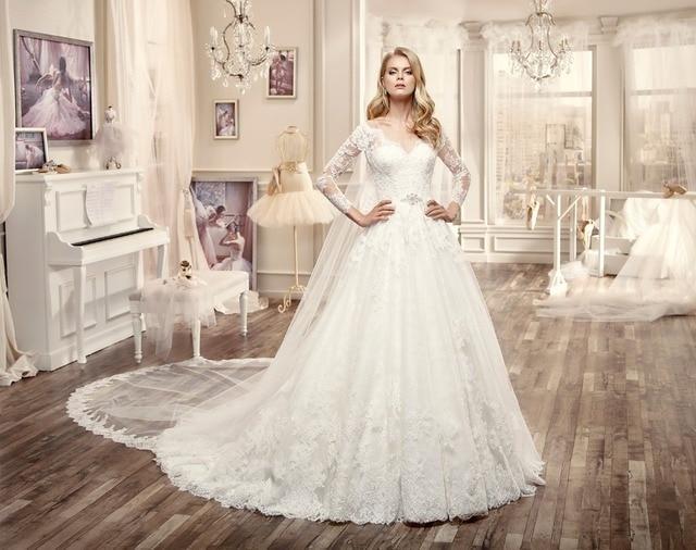 Aliexpress.com : Buy 2017 New Arrival Long Sleeves Wedding Dresses V ...