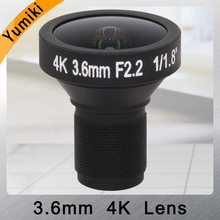 "Yumiki 8MP 메가 픽셀 HD 렌즈 M12 마운트 보드 4 k 렌즈 3.6mm 1/1. 8 ""CCTV 렌즈 지원 4 K 카메라"