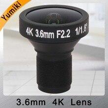 """Yumiki 8MP megapikseli HD obiektyw M12 do montażu na pokładzie 4 k obiektyw 3.6mm 1/1. 8 """"obiektyw CCTV dla bezpieczeństwa IP uchwyt na aparat kamera 4 K"""
